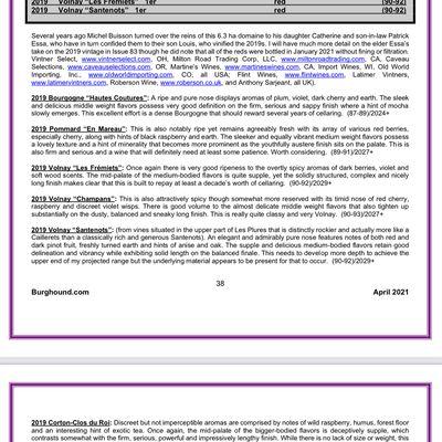 Les rouges du millésime 2019 évalués par Allen Meadows de Burghound.com
