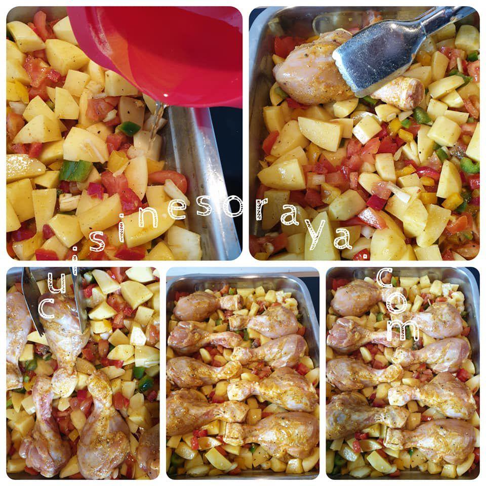 Pilons de poulet et légumes au four