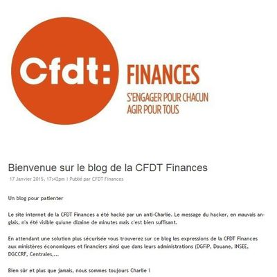 CFDT Finances : site internet hacké par un anti Charlie
