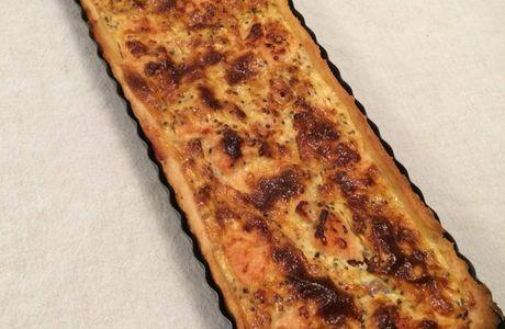 Tarte saumon et tomate à la moutarde à l'ancienne
