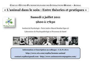 Colloque - L'animal dans le soin : entre théories et pratiques - 2 juillet 2011