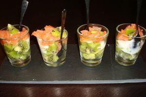 Verrines saumon/kiwi