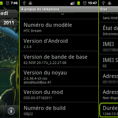 Android : record d'uptime sur le htc Dream / ROM COS-DS