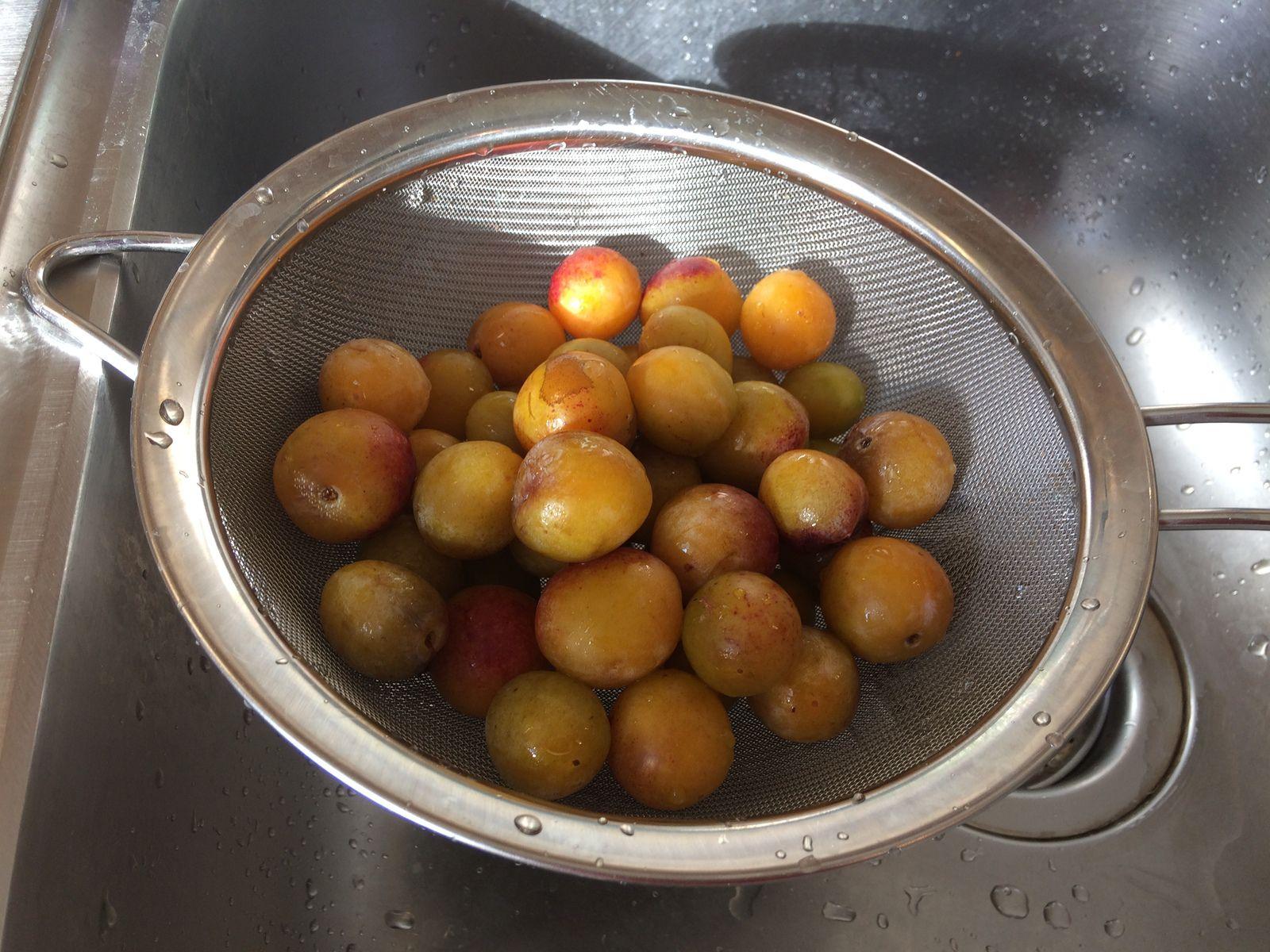 On rince d'abord les fruits sous l'eau et on les sèche. J'ai choisi de ne pas les dénoyauter.