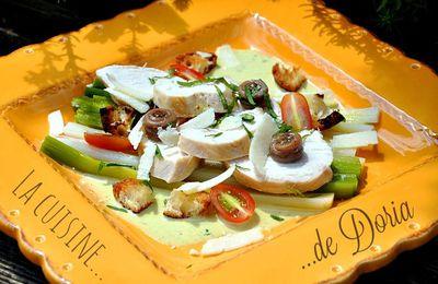 Salade de poulet et anchois sur lit de poireaux