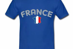 T shirt bleu blanc rouge Carte de France HBR