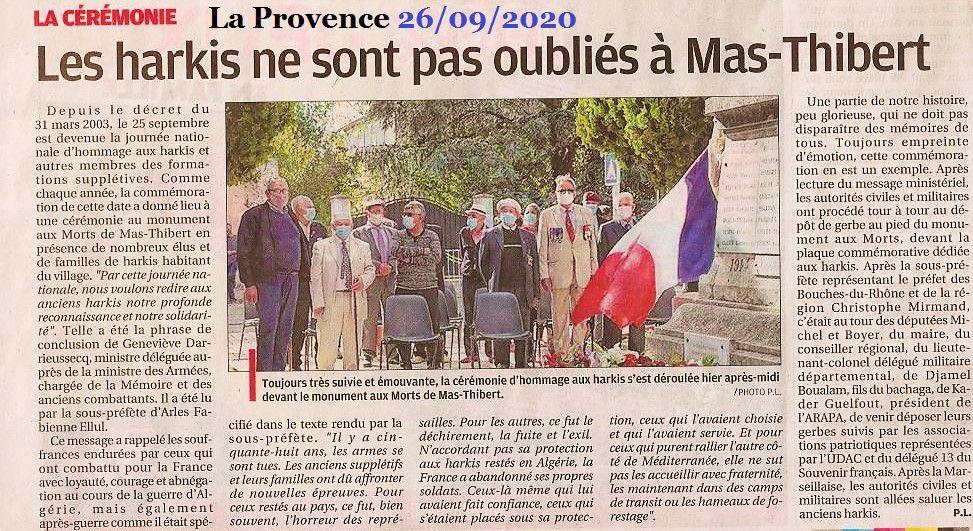 Mas-Thibert-Arles (13) Journée nationale d'hommage aux harkis 25-09-2020