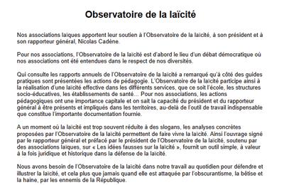 Nicolas CADENE, rapporteur de l'Observatoire de la Laïcité, victime d'attaques calomnieuses et sectaires