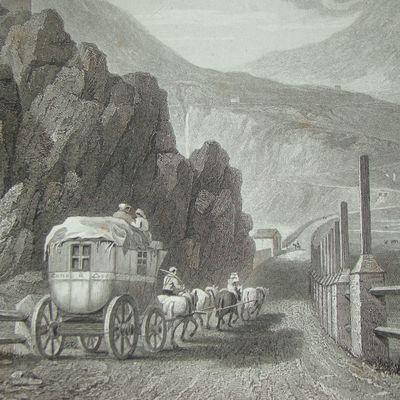 Diligence du Mont Cenis à grande Croix, par William Brockedon en 1829