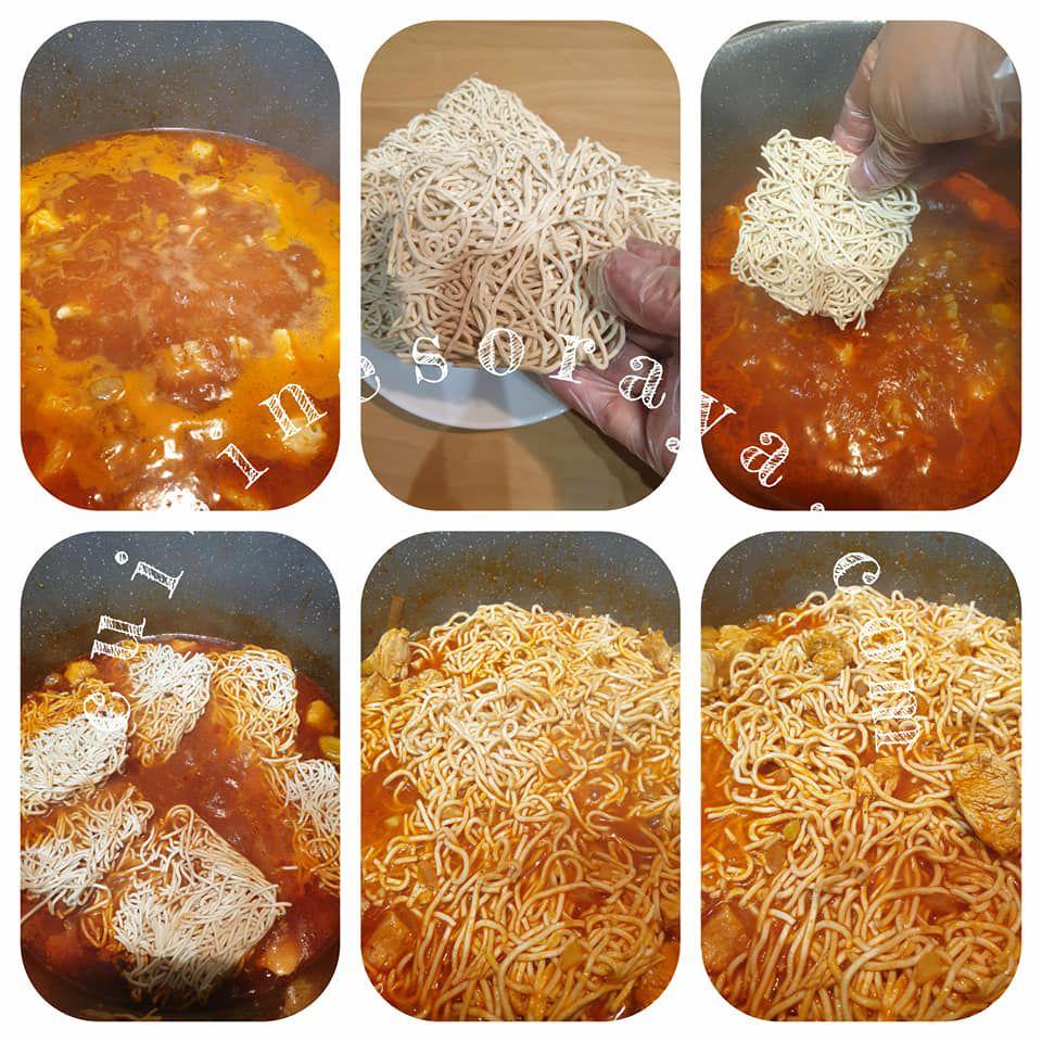 Nouilles poulet façon pâte à la tunisienne très rapide.