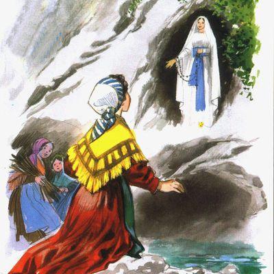 Vie & coloriages de sainte Bernadette
