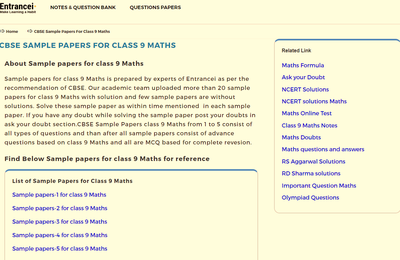 CBSE Sample Papers for Class 9 Maths   Entrancei