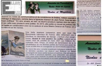 Article de l'Association des Descendants Nicolas Audet dit Lapointe -Québec- Eté 2021-