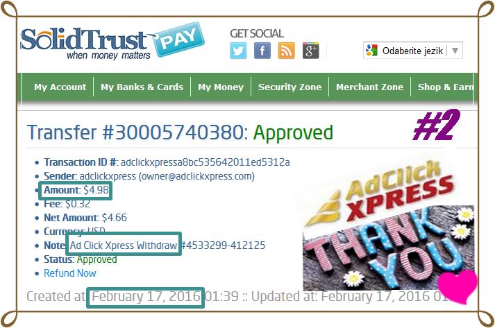 Ad Click Xpress Withdrawal Proof # 2