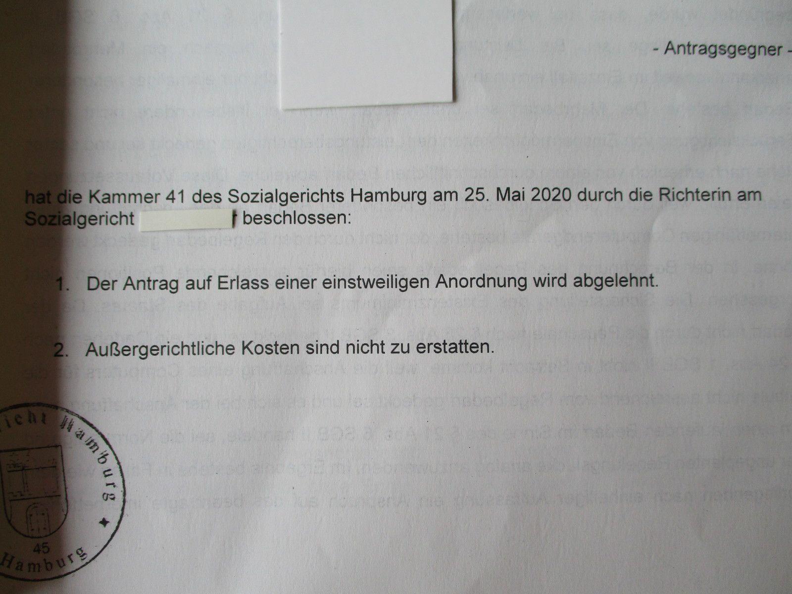 SG-Beschluss - Abweisung - aus Mai 2020 zu meinem Eilantrag für einen Schüler-Laptop für meine Tochter.