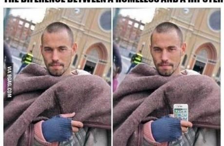 The difference between a homeless person and a hipster