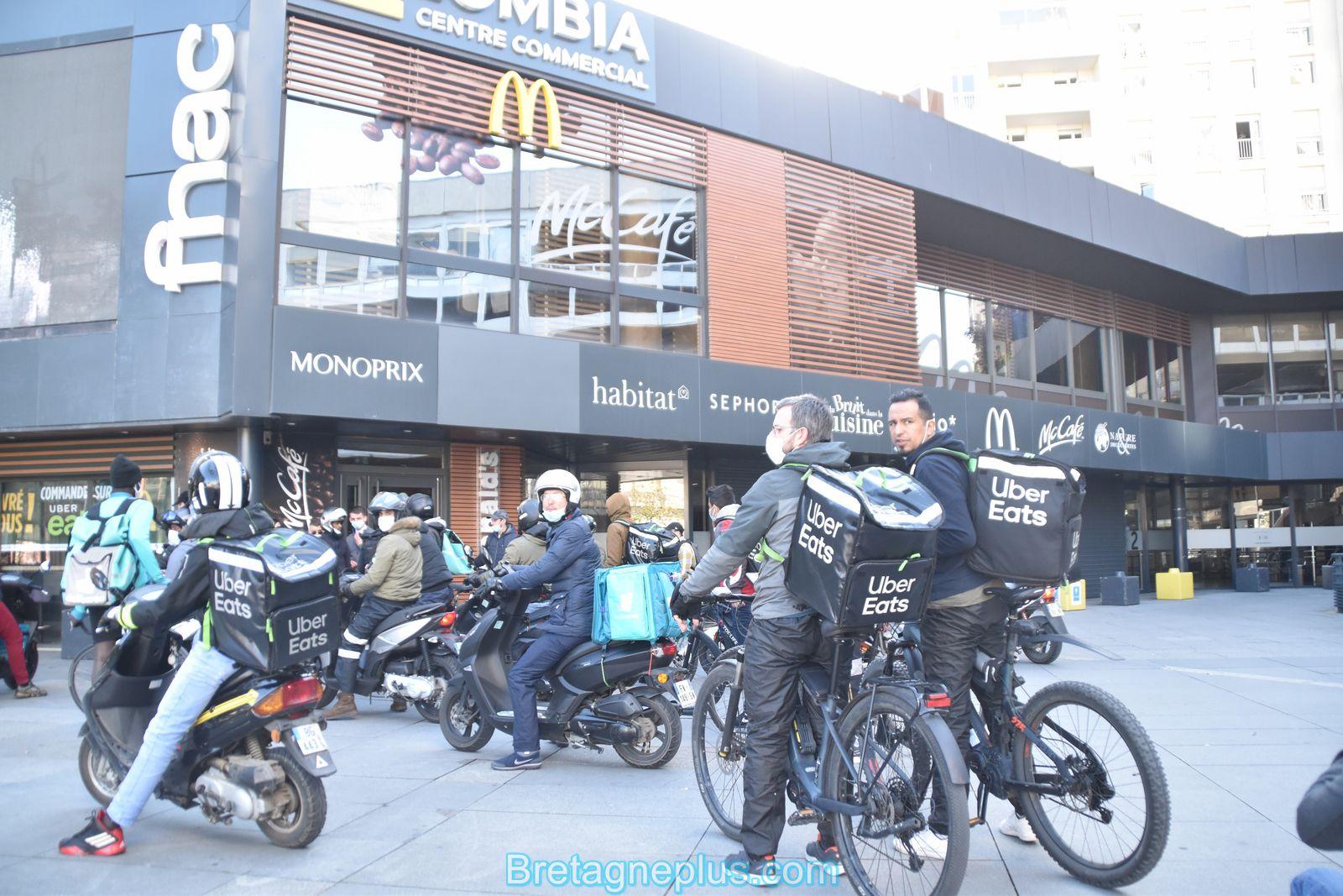Grève des livreurs Deliveroo et Uber Eats de Rennes