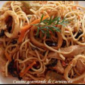 Nouilles chinoises aux calamars - Cuisine gourmande de Carmencita