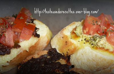 Bruschetta Tomates, Mozzarella et tapenade de couscousetpuddings