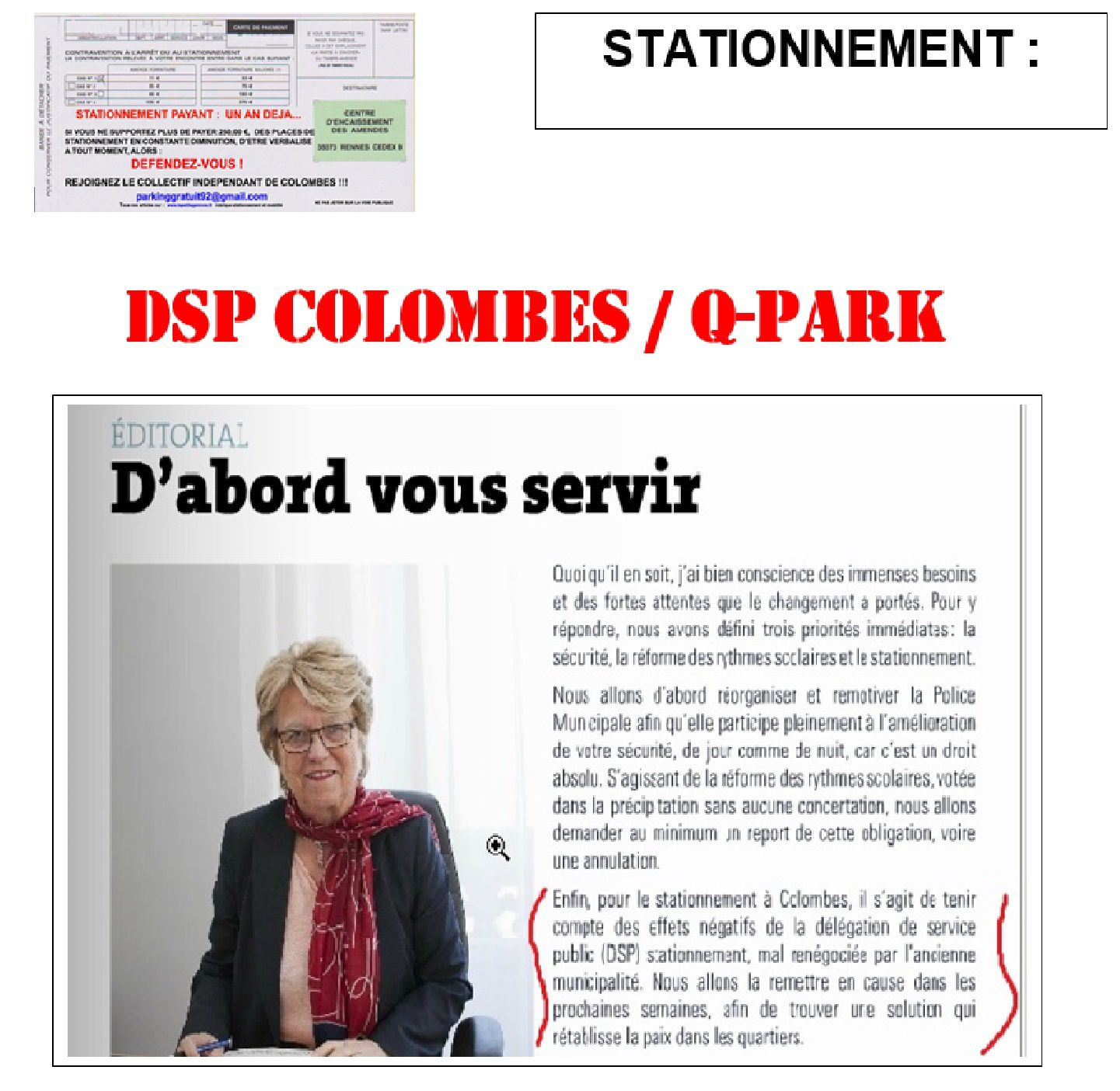 COLOMBES : DSP QPARK RENIEMENT !  CAPITULATION !  RENONCEMENT !
