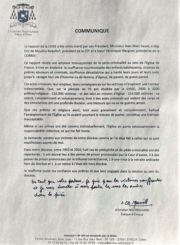 Communiqué de Mgr Christian NOURRICHARD, Evêque d'Evreux, suite au rapport de la CIASE