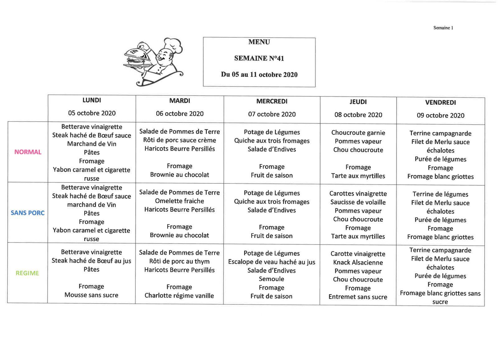 Menu Automne - semaine du 05 au 11 octobre 2020