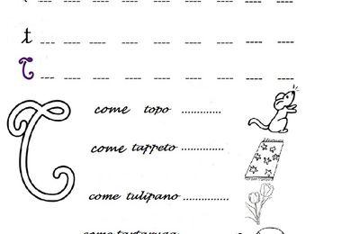Lettera T come  topo, toro, tappeto, tulipano, tartaruga, scarica colora e scrivi