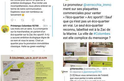 L'ARC SPORTIF de Colombes n'est pas labellisé ECO QUARTIER contrairement à la publicité effectuée par un promoteur immobilier