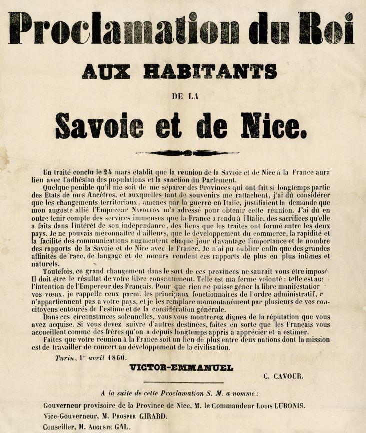 Proclamation de Victor-Emmanuel aux habitants de la Savoie et de Nice, 1er avril 1860
