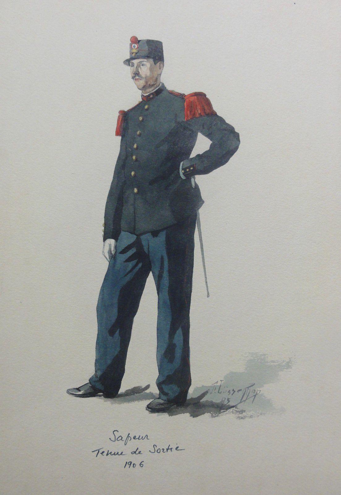 aquarelle sapeur pompier tenue de sortie  1906