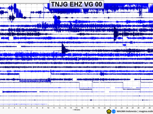 Anak Krakatau - seismograms of 30 and 31.12.2019 - Doc. Magma Indonesia - one click to enlarge