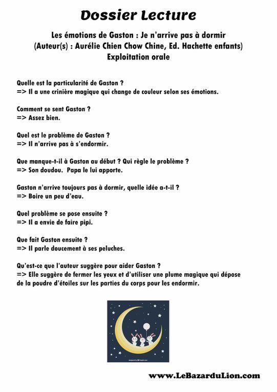 Gaston la Licorne : Je n'arrive pas à dormir [Dossier Lecture][Émotions][Maternelle][CP]
