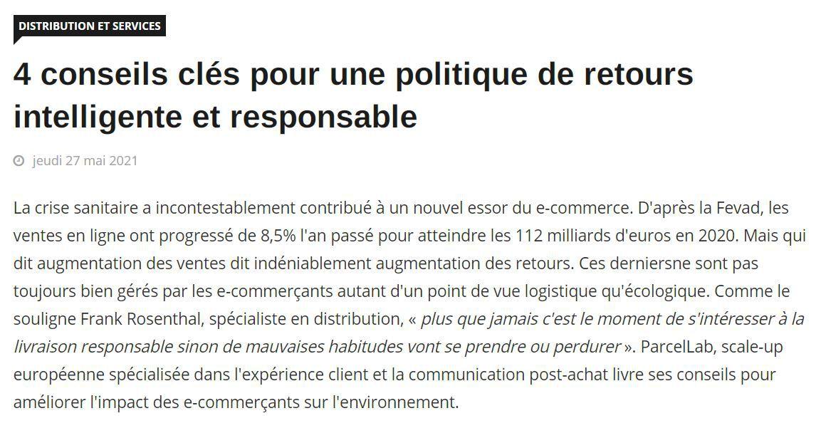 Dans les médias (247) : Info DSI : 4 conseils clés pour une politique de retour intelligente et responsable
