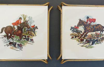 Set 2 dessous de plat chasse à courre vintage VB La Ferté Gaucher 1960  - 12 euros