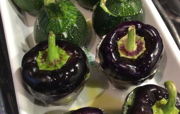 minis légumes farcis au chèvre frais et aux raisins