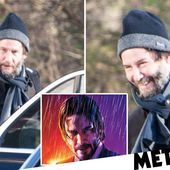 Smiley Keanu Reeves (and an amazing hat) arrives on John Wick 4 set in Germany