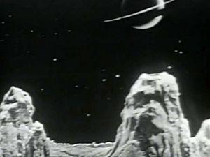 Paysage martien avec canal et constellation ; Martien cyclope