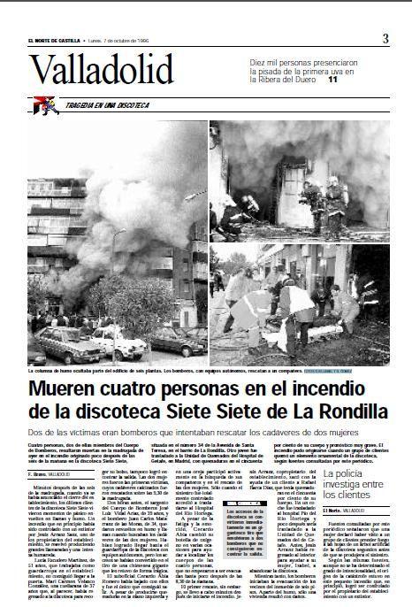 Rememoramos cómo sucedió el incendio de la discoteca Siete Siete de Valladolid.- El Muni.