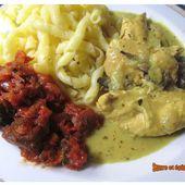 Aiguillettes de poulet aux champignons sauce crème fraîche et curcuma - www.sucreetepices.com
