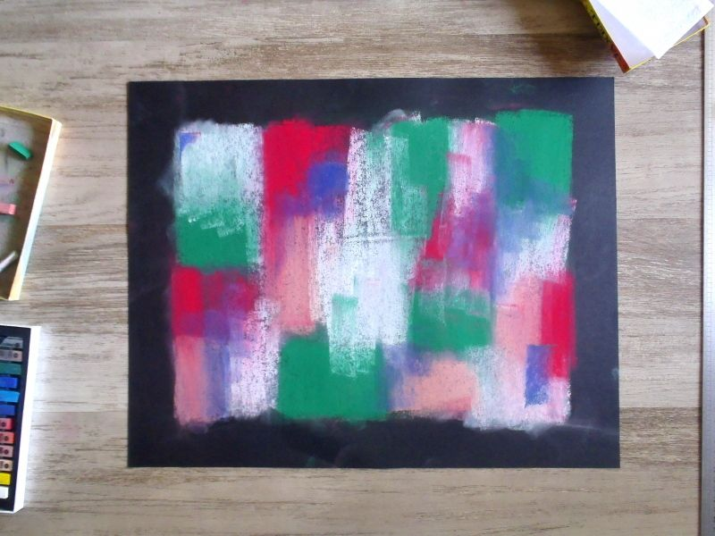 Rectangularisation - Dry pastel and papercut