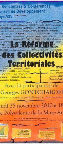 Conférence de Georges Gontcharoff, reforme des collectivités territoriales , CD pays A3V , les vidéos