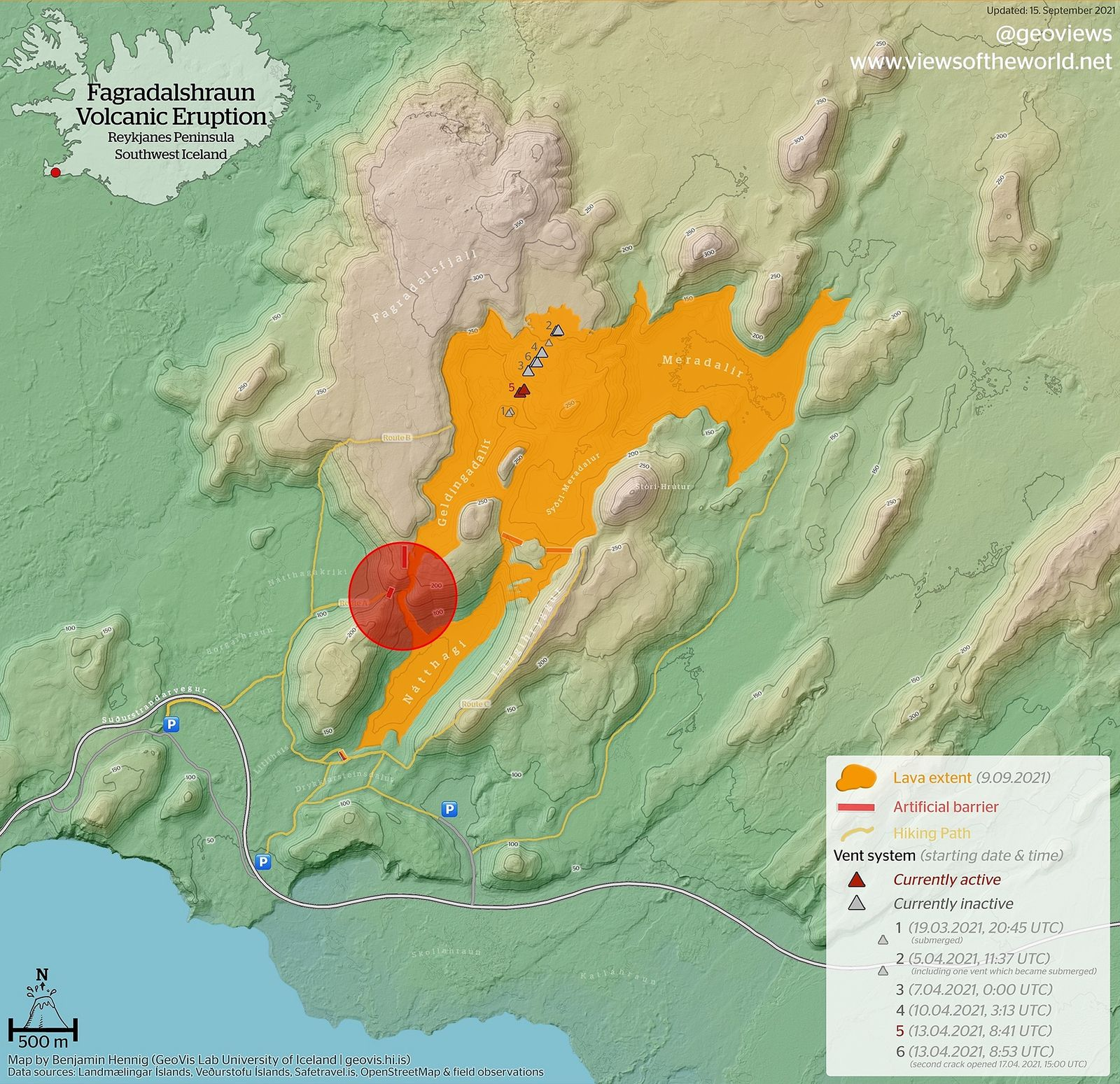 Lava flows can be observed along the slopes between the Geldingadalir and Nátthagi valleys (see red circle on the map newly published on September 15, 2021). - Doc. Benjamin Hennig 09.15.2021