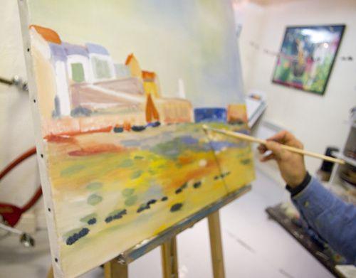 photos choisies des cours de dessin et peinture du mois d'octobre à l'atelier du studio Célanie à tours travail d'observation, de couleur ou decouverte de l'outil lavis