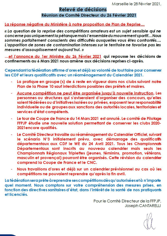 Relevé de décisions Réunion de Comité Directeur du 26 Février 2021