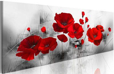 tableau panoramique coquelicots rouge 120x40 cm