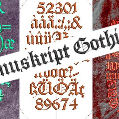 Manuskript Gothisch, une police d'écriture gothique pour inkstitch