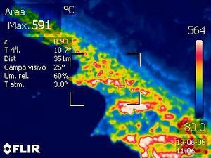 Etna - images on FLIR thermal camera 05.06.2019 / Doc. INGV Catania - a click to enlargeEtna - images at the thremical camera FLIR 05.06.2019 / Doc. INGV Catania - one click to enlarge