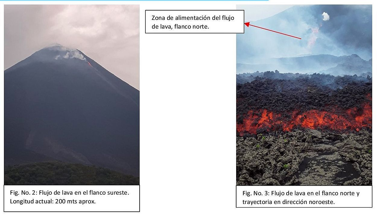 Pacaya - the two lava flows on 04.29.2021 - Doc. Insivumeh