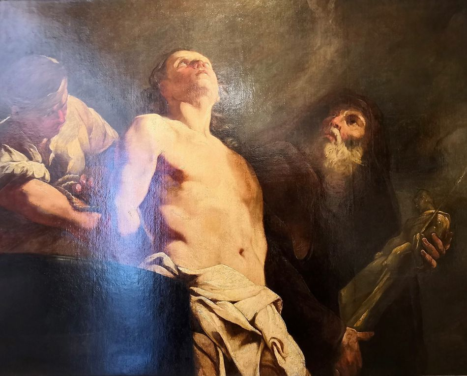 Giulia Lama (Venise, 1681-Venise, 1747), le Martyre de saint Jean l'évangéliste, 1730, Huile sur toile