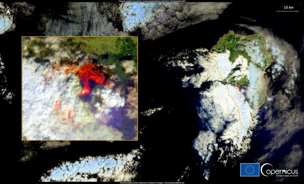 La Palma - Doc. Sentinel-2 via Copernicus / EU 20.09.2021 - un clic pour agrandir